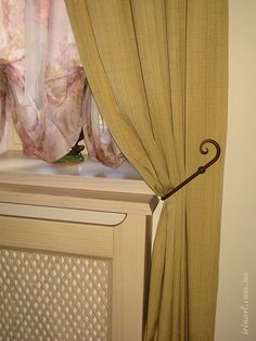 Window decoration. Curtain in Provence style decorated house