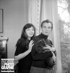 Juliette Gréco, chanteuse et actrice française et Philippe Lemaire, acteur français. Paris, 1951