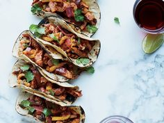 Tacos al Pastor made with orange juice instead of pineapple and chili powder instead of the guajillo chilies Wine Recipes, Mexican Food Recipes, Cooking Recipes, Cooking Games, Yummy Recipes, Tacos Al Pastor Rezept, Tacos Pastor, Mexican Tacos, Small Baking Dish