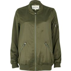 River Island Light green satin longline bomber jacket ($55) ❤ liked on Polyvore featuring outerwear, jackets, satin bomber jacket, river island, bomber jacket, green flight jacket and longline jacket
