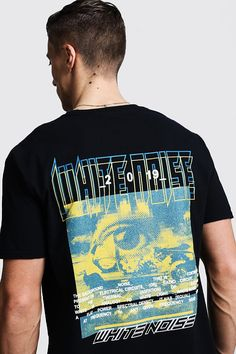 Oversized White Noise Graphic Printed Tee | boohooMAN UK Cool Graphic Tees, Graphic Shirts, Tee Shirt Designs, Tee Design, Graphic Design, Top Streetwear, Streetwear Clothing, Streetwear Brands, Urban Outfits