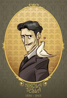 An AWESOME drawing of Nikola Tesla. He's even got a pigeon!