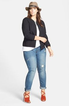 Sejour Bomber Jacket, Tee & City Chic Distressed Boyfriend Jeans (Plus Size) available at #Nordstrom