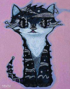 a cat tote bag artist Space Cat, How To Get Warm, I Love Cats, Cat Art, My Works, Whimsical, Cat Paintings, Batman, Superhero
