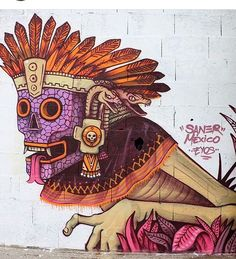 Edgar Saner Flores, Street Art, spray can | Urban Street Art, Urban Art, Mexican Artwork, Aztec Art, Amazing Street Art, Street Art Graffiti, Murals Street Art, Art Is, Street Artists