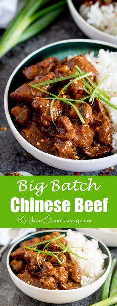Big Batch Chinese - A tasty, make-ahead meal of slow-cooked saucy Chinese beef. Perfect when you're cooking for a crowd! Chinese Beef Recipes, Asian Recipes, Healthy Recipes, Healthy Snacks, Chinese Meals, Chinese Pork, Chinese Beef Curry, Chinese Beef Dishes, Lunch Snacks
