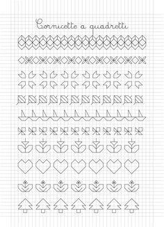 Cornicette e disegni a quadretti Blackwork Patterns, Blackwork Embroidery, Embroidery Stitches, Graph Paper Drawings, Graph Paper Art, Cross Stitch Borders, Cross Stitch Patterns, Border Pattern, Pattern Design