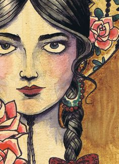 A3 Sombrero tattooer art flash mexican girl traditional - cardstock art print