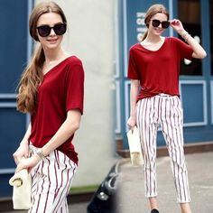 Women New Stylish Vintage Tees + Stripes Harem Pants Outfits Sets Western Fashion Summer Fall Casual Sets Loose Tops And Pockets Pants From Smartmart, $23.13 | Dhgate.Com