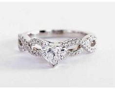 Infinity Twist Micropavé Diamond Engagement Ring in White Gold ct. Engagement Ring Settings, Diamond Engagement Rings, Build Your Own Ring, Wedding Bands, Fine Jewelry, White Gold, Infinity, Sapphire Wedding, Silver