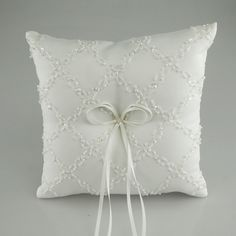 Ring Bearer Satin Pillows Wedding Occassion, 8-inch, Beads Checkered, White, CLOSEOUT