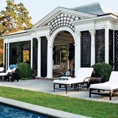 The pool house at Tory Burch's Hamptons house