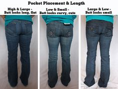 This is an awesome article on how things like the placement of pockets on jeans can make a huge difference in how you look!  Lots of great pictures and tips.  I saw it pinned many times and finally read it--fantastic!  :)
