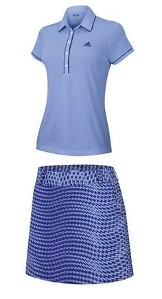 5ad53843b32 A new cool and sporty Adidas Ladies Golf Outfit (Shirt   Skort) –  Periwinkle Bluebonnet to add to your golf collection!