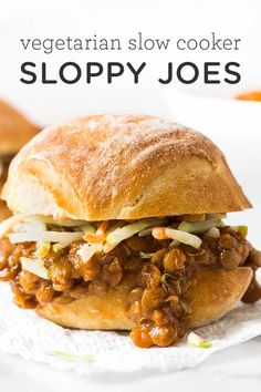 Slow Cooker Lentil Sloppy Joes Recipes This plant-based version of the all-American classic, these lentil sloppy joes have all the same flavor without any of the meat! Slow Cooker Recipes, Crockpot Recipes, Cooking Recipes, Oven Cooking, Barbecue Recipes, Pizza Recipes, Easy Cooking, Cooking Tips, Chicken Recipes
