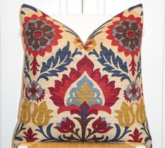 Decorative Pillow Cover - 20x20, 18x18 - Suzani - Throw Pillow - Accent Pillow - Red - Navy blue - Tan - Brown - Floral