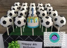 Soccer ball cake pops - For all your cake pop decorating supplies, please visit http://www.craftcompany.co.uk/cake-pops.html