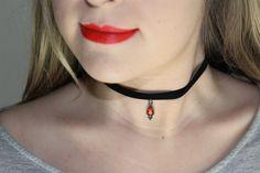 Black Velvet Ribbon Choker Necklace. Red Teardrop Velvet Choker. 90s Grunge Choker. Black Choker Hippie Choker Boho Hippe Necklace by Sunvsmoon on Etsy https://www.etsy.com/au/listing/480305745/black-velvet-ribbon-choker-necklace-red