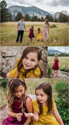 Outdoor family portraits with young kids in Boulder Colorado taken by Erie Family Photographer, Tsuda Photography with mountain backdrop Outdoor Family Portraits, Outdoor Family Photography, Family Portrait Poses, Family Picture Poses, Family Photo Outfits, Family Photo Sessions, Family Posing, Photography Poses, Toddler Photography