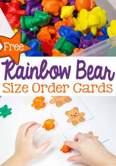 Practice size order with preschoolers using this fun free printable rainbow bear size card set! Sort by colors and compare sizes! Measurement Activities, Literacy Activities, Spring Activities, Color Activities, Math Games, Toddler Activities, Free Preschool, Free Math, Preschool Ideas