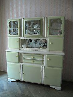 Buffet Buffetschrank Küchenbuffet Vitrinenschrank 50er Art Deco Hellgrün