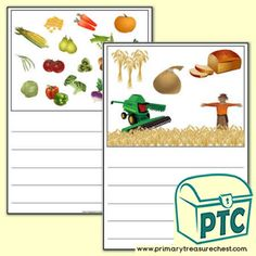 Harvest Themed Writing Activity Worksheet (Wide Lines) - Primary Treasure Chest Ourselves Topic, Literacy Activities, Treasure Chest, Worksheets, Harvest, Arts And Crafts, Role Play, Autumn, Fall