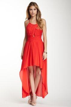 Madison Marcus Pleated Bodice Hi-Lo Silk Dress on HauteLook