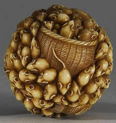 Netsuke in the form of a basket of rats