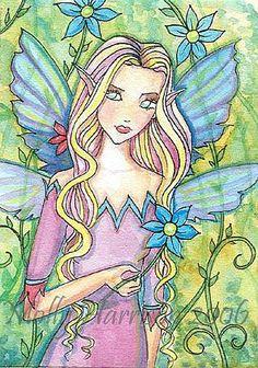 Fairy Art: aceo garden fae by Artist Molly Harrison