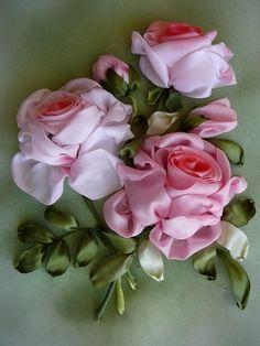 Gallery.ru / Розовые розы - Вышивка лентами - silkfantasy