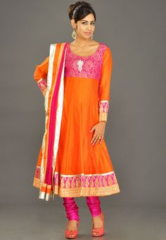 Orange Chanderi Silk Readymade Anarkali Churidar Kameez
