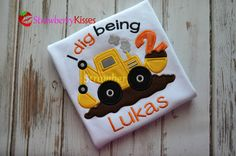 I dig being [age] construction/backhoe personalized appliqued birthday shirt