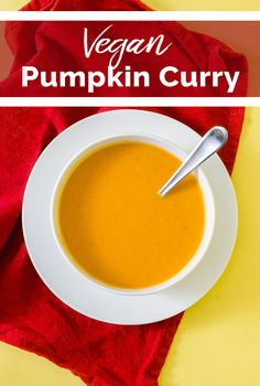 This quick and easy one-pot pumpkin curry soup only takes 30 mins and 6 ingredients. Made with Thai red curry paste, canned pumpkin, and coconut milk. Pumpkin Curry Soup, Pumpkin Pie Mix, Canned Pumpkin, Vegan Recipes Easy, Fall Recipes, Soup Recipes, Gluten Free Pumpkin, Vegan Pumpkin, Vegan Soup