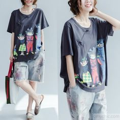 the happy cat family Gray cotton shirts plus size woman summer oversize blouses cotton topsThis unique deisgn deserves the best quality texture. The fabric of this article is soft, comfortable and breathy.Flattering cut. Makes you look slimmer and matches easlily with jeans, leggings stylish pants or skirts. Measurement: One size fits all for this item. Please make sure your size doesn't exceed this size: BUST-126cm length 71cm / 27.69