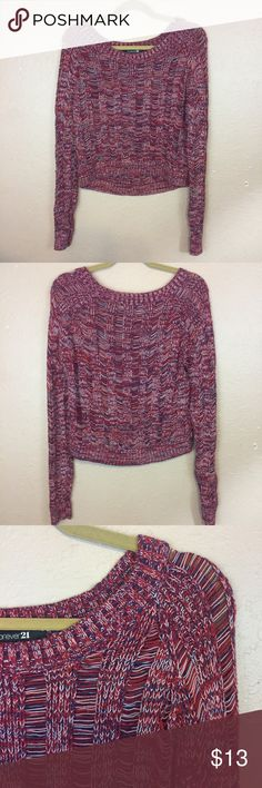 Women's Forever 21 Crop Sweater Women's Forever 21 crop Sweater. Beautiful colors and so soft! Great condition. Size M. Forever 21 Sweaters Crew & Scoop Necks