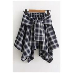 Elastic Waist Tie Front Plaids Striped Printed Mini Asymmetrical Skirt ($25) ❤ liked on Polyvore featuring skirts, mini skirts, elastic waistband skirt, striped skirt, tie front skirt and tartan mini skirt