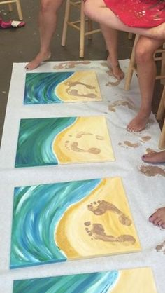 Painted footprints picture. But I'd make the water flow through all the photos instead of making them all the same..