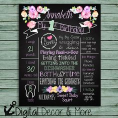 Watercolor Shabby Chic Flowers First Birthday Chalkboard Poster // Girl 1st Birthday Chalkboard // Custom Printable // Watercolor Flowers by DigitalDecorandMore on Etsy