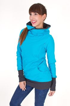 Breastfeeding hoodie, nursing sweater, kangaroo hoody, maternity clothing, pregnancy fashion, baby, 3 in 1, tourquoise, COLORADO