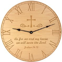 Carved Wood Clocks with bible verses and Army, Navy, Air Force and Marines logos. Made in Colorado Springs, Colorado