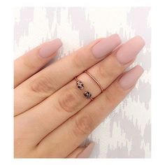 Pink Matte Nails | gold rings, matte nails and coffin nails ❤ liked on Polyvore featuring beauty products and nail care