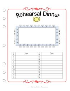 The rehearsal dinner might be a prelude to the actual wedding reception, but it's still important that everything goes smoothly. Make sure that everyone is accounted for and included in the seating arrangement with the Wedding Planner Rehearsal Dinner template. Free to download and print