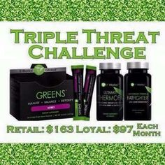 Who else wants to do the triple threat challenge??? You don't have to make a 3 mnth commitment to do it !!! You would just pay retail price which is $163 and then it's said and done!  Or sign up and get it for 97 each month!!!! Who is ready to drop some pounds!  If you can't afford this we have something cheeper for ya ;-)