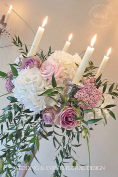 Beautiful Rose & Hydrangea Candelabra Design from Wedding & Events Floral Design www.weddingandevents.co.uk North Yorkshire Wedding Flowers