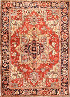 Large Antique Persian Heriz Serapi Rug 49162