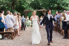 May wedding at The Grove! #JKayePhotography see more at www.thegroveaubreytexas.com #NorthTexasBride #OutdoorCeremony #WeddingVenue #Simple #Garland #DonutCake #LaceWeddingDress