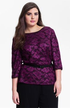 Alex Evenings Belted Stretch Lace Top (Plus) available at #Nordstrom