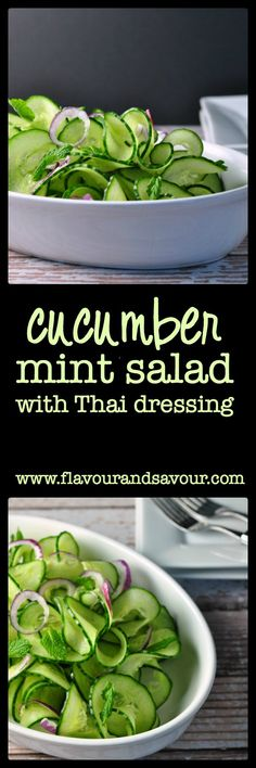 Cucumber Mint Salad with Spicy Thai Dressing from Flavour and Savour. So simple, so good!
