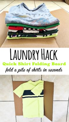 Laundry Hack- Fold a pile of shirts in just seconds! #lifehack #tip