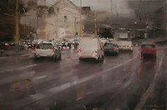 Blurry Traffic by Tibor Nagy Oil ~ 11,8 x 17,7